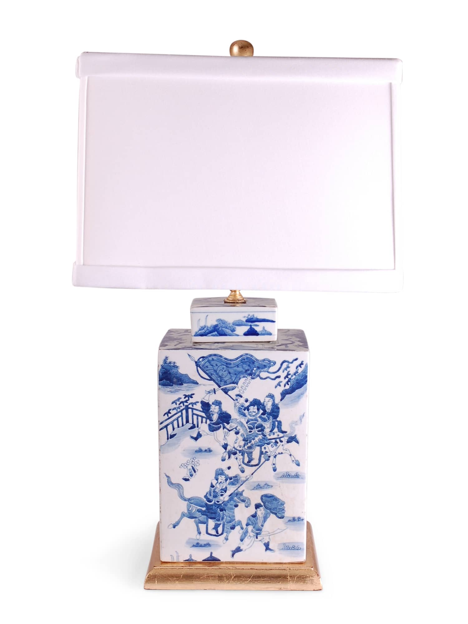 Square Blue And White Warrior Tea Cad Lamp
