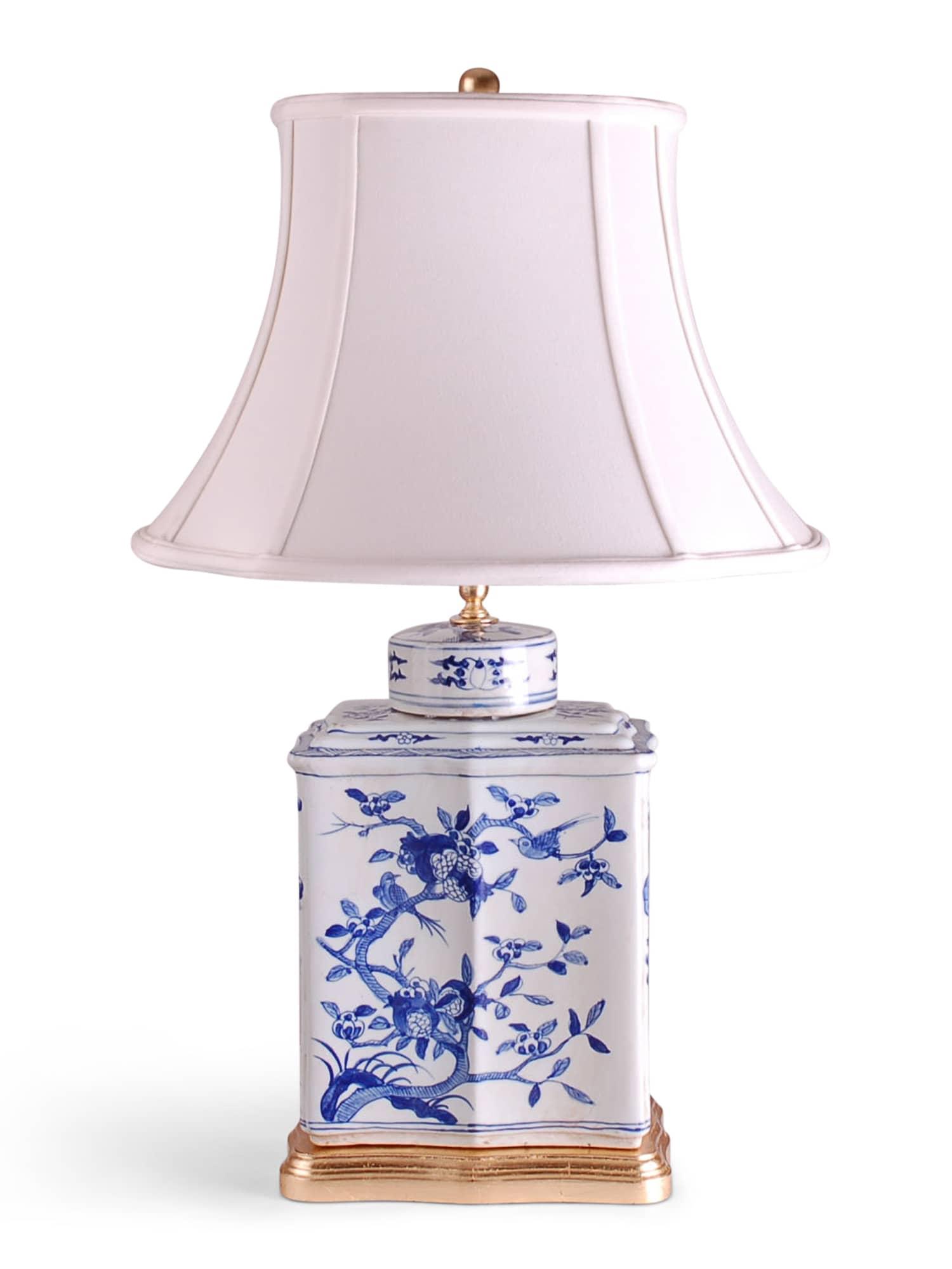 Blue And White Bird Flower Tea Cad Lamp